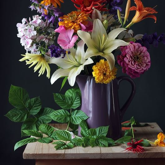 Lilies, Zinnias, marigolds, and Phlox. Photo: Shutterstock