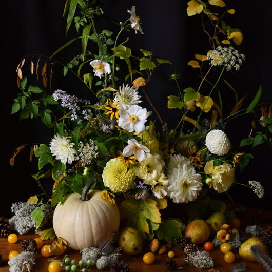Autumnal centerpiece by designer Marc Sardi.