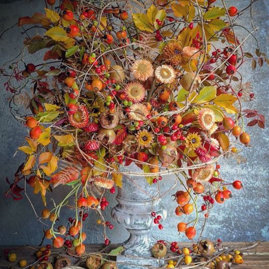 Striking fall arrangement by Johnny Crows Garden.