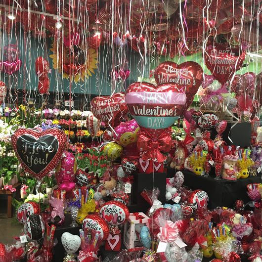 The quintessential Valentine's Day display at a local grocery store.