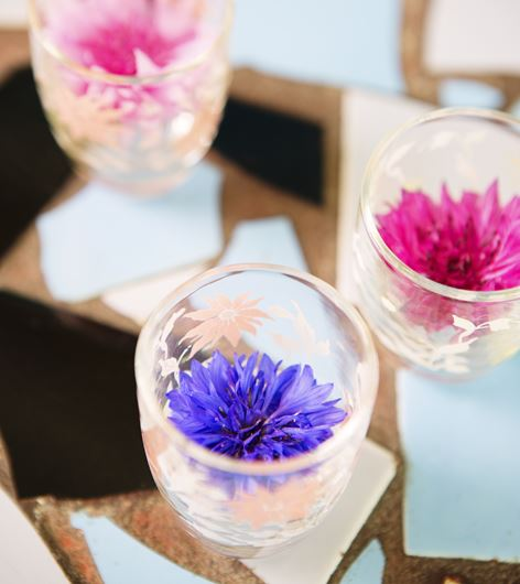 Cornflowers (Centaurea cyanus) in votive cups. Photo: Rolinda Windhorst